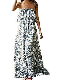 Vestito Lungo Estivi Donna Boho Spiaggia Elegante Vestiti Vintage Baggy  Fashion Chic Vestito Senza Spalline Senza e07f02668e2