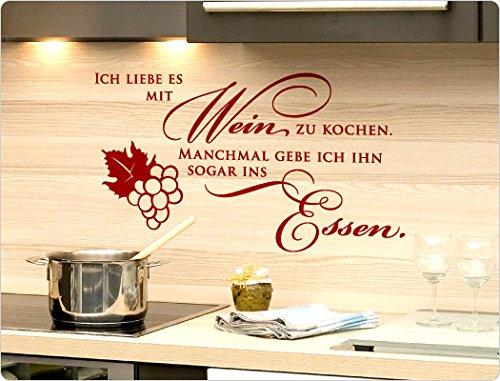 """I-love-Wandtattoo 11853 Wandtattoo Spruch """"Ich liebe es mit Wein zu kochen. Manchmal gebe ich ihn sogar ins Essen."""" Spruch lustig Wandaufkleber Wandsticker Wohnzimmer Esszimmer Wohnidee witzige Sprüche Wanddeko Küchendeko Aufkleber Sticker Deko Wand Dekoration Wandspruch Zitat Wohnzimmerdekoration Wanddekoration Tattoo Idee Weindeko"""
