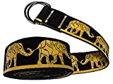 Cintura Yoga | Disegnata in Italia | Cinghia in Cotone lunga 240cm con Pelle, Cuciture Oro e Anelli Regolabili | Morbida al tatto | Cinta per fare Stretching, Pilates e Fisioterapia