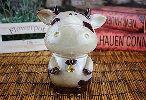 ren Statue Figur Glocke Yak Handgemalte Keramik Schwarz Und Weiß Blume Kuh Sparschwein Wohnzimmer Dekoration Kunsthandwerk Ornamente Keramik Kunsthandwerk A ()