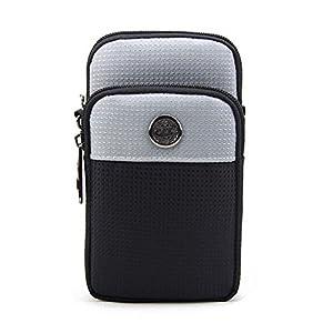 KISS GOLD (TM Wasserabweisende Hüfttasche Waist Bag Handytasche mit Karabiner & Zwei Reißverschluss Taschen für Sport