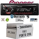 FIAT Punto EVO/199 - Autoradio Radio Pioneer MVH-S300BT - Bluetooth | MP3 | USB | Android | iPhone 4x50Watt Einbauzubehör - Einbauset