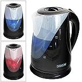Voche® Black 1.7 Litre 2200W Fast Boil Dual LED Colour Illumination Electric Cordless Jug Kettle