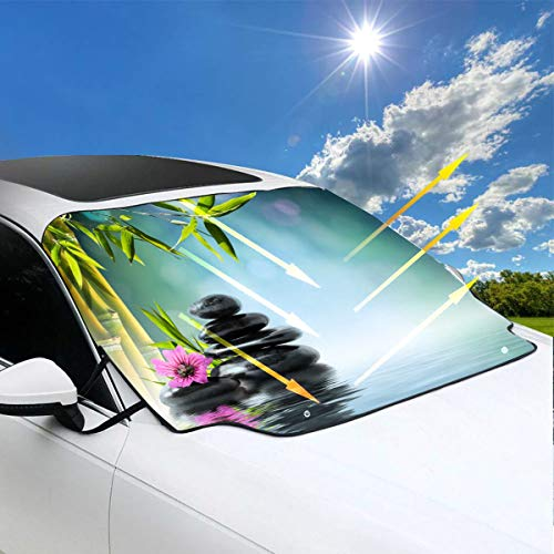 Sombrillas plegables para automóviles para parabrisas Japón Flor de orquídea púrpura japonesa Bambú y Zen Sombrillas para automóviles para parabrisas Cute 57.9x46.5 pulgadas (147cmx118cm) para la may