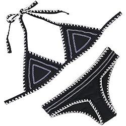 FLORAVOGUE Halter de la Mujer Crochet Neopreno triángulo Bikini Set Dos Piezas bañadores - Negro -