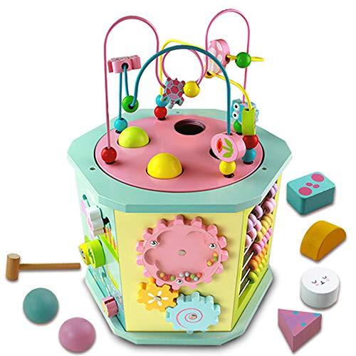 Juguetes Madera Bebes Cubo Actividades Bebe- 9 in 1 Cubo Centro de Actividades Juego Laberinto Juegos de Habilidad Juguetes Educativos Preescolares para 1 2 3 Años Niños Niñas