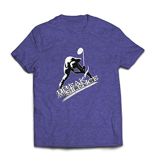 Männer T-Shirt Break The Silence, Musiknote - Rock'n'Roll - Heavy Metal - 60er, 70er, 80er, 90er (X-Large Heidekraut Blau Mehrfarben)