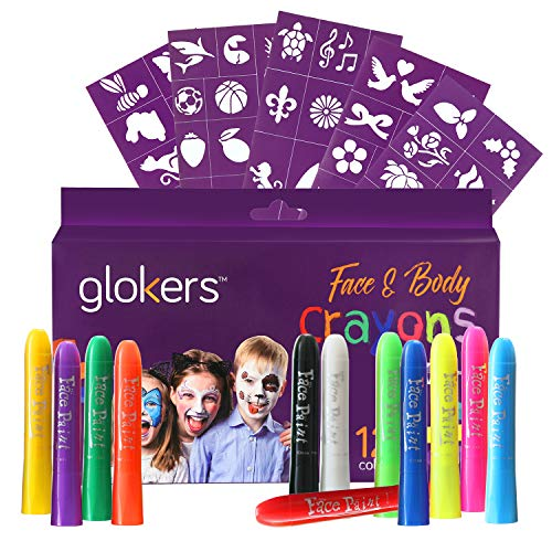 glokers Gesicht und Körper Crayons Set | 12 Farben waschbar, ungiftig und hypoallergen Lack Sticks | Sweat Proof Painting Marker für Kinder und Erwachsene Kostüm, Halloween Parties | Bonus 50 Stencils