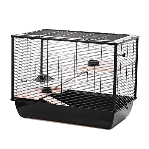 Little Friends Langham Tall Rat and Hamster Cage with Two Floors, 77 x 47 x 58 cm, Black
