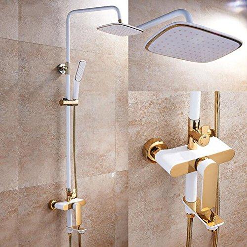 Badezimmer Regen Mixer Dusche Combo Set Duschsystem umfassen Luxus Bad Regendusche Kopf Handbrause und Badewanne Auslauf Wasserhahn Waschtischarmatur (Dusche Wasserhahn-combo Und Badewanne)