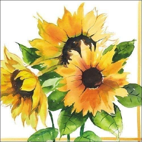 Sonnenblumen Blumenmuster 3-lagig 20 Papierservietten 13
