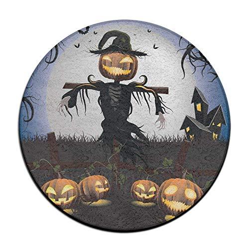 Scarecrow Anti Slippery Door Mat Soft Coral Velvet Pads (23.6 Inch) Floor Mats Round Area Rug ()
