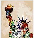wwdfdd Pintura por números Sin Marco Estatua De La Libertad DIY Pintura por Números Kits Pintura Acrílica sobre Lienzo Pintada A Mano Pintura Al Óleo para Decoración En Casa 40X50CM