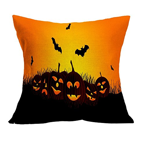 VEMOW Halloween Party Dekoration Kissenbezug Sofa Taille Mode Werfen Kissenbezug Home Decor(Gelb 4, 45cm*45cm)