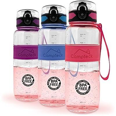 CampTeck Trinkflasche Sport Wasserflasche BPA Frei Auslaufsichere Fahrradflasche mit Tragegurt (450ml, 600ml, 1000ml)