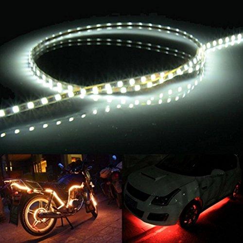 Iluminación Longitud: 90 cm, 45 LED 3528 SMD Luz de tira flexible impermeable del coche para la decoración del coche, DC 12V Iluminación para ti (Color : Blanco claro)