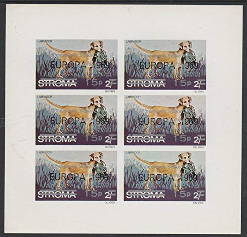 Stroma 1971 Dogs 15p on 2s (Labrador) oped 'Emergency Strike Post' for use on the British mainland u/m complete imperf sht of 6 DOGS LABRADOR POSTAL CINDERELLA STRIKE JANDRSTAMPS (706609)