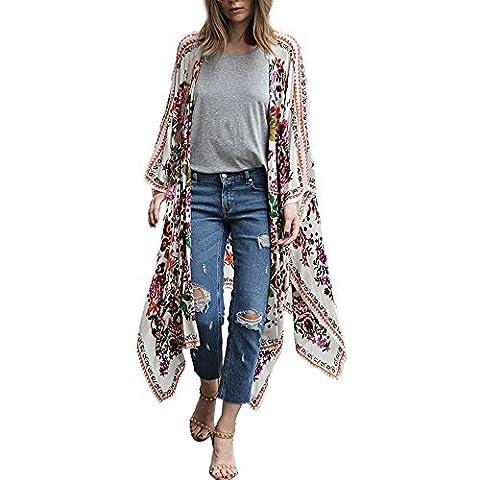 Jimmkey Women Floral Print Chiffon Loose Shawl Kimono Cardigan Top Cover up Shirt Blouse (Multicolor)