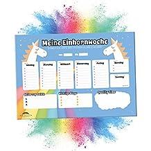 Unicornio escritorio de sobremesa | 50hojas de papel–Puntos de bloque | semanal (DIN A3, azul claro) | azules Cartapacio para niña & Niños Calendario planificador de Agenda, organizador, escuela, schulsachen, accesorios y práctica cosas