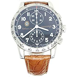 Clock Eberhard Men 31038CP Breaker Steel quandrante Blue Leather Strap