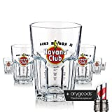6 x Havana Glas / Gläser Rum Cocktailglas Mojito Gastro Bar Deko + Flaschenausgiesser