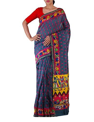 Unnati Silks Women Grey-Pink Ikat Printed Pochampally Kalamkari Cotton Silk Saree(UNM22098)
