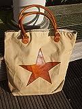 Traumhafte Einkaufs - Tasche, Star, Leinen, Baumwolle, Ledergriffe