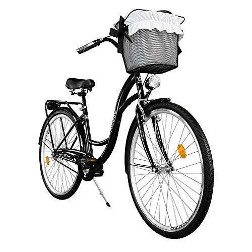 Milord. Komfort Fahrrad mit Korb, Hollandrad, Damenfahrrad, 1-Gang, Schwarz, 28 Zoll