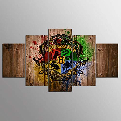 Landschaft Leinwand Malerei Modulare 5 Panel Film Harry Potter Thema Leinwand Kunst Wandkunst Dekor Rahmen 30X40_30X60_30X80cm_with_Frame ()