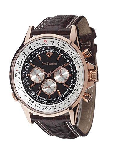 Yves Camani CALCULATRICE  schwarz/braun - Reloj de cuarzo para hombre, correa de cuero color marrón