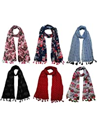 FusFus Women's Printed Trendy Stoles, Free Size(Multicolour, F008) - Pack of 6