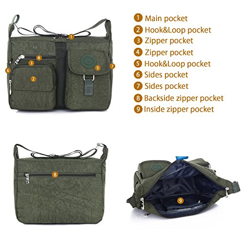 Tibes Travel Messenger Bag Beiläufige Umhängetasche Oxford Stoff Crossbody Tasche Tasche für Damen / Herren Schwarz Braun