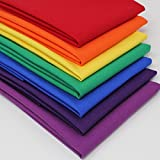 7 Fat Quarters Bundle - Rainbow Colours 100% Cotton Fabric. Ideal for Quilting and Craft Sewing (includes free patchwork pattern)