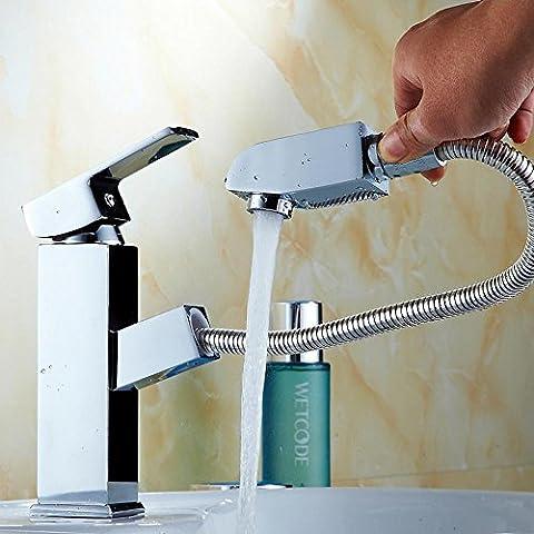 YanCui@ Cobre agua caliente fría monomando altura de agujero del lavabo telescópica , 2