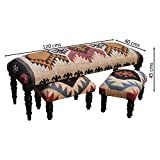 Homescapes Set of 1 Large Upholstered Kilim Bench or Rectangular Coffee Table and 2 Small Footstools Handmade Solid Wood Frame with Traditional Hand woven Wool Rug Cover
