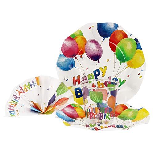 weggeschirr Party-Set Happy Birthday | Pappgeschirr für 16 Personen: Pappteller + Becher + Servietten | für Festliche Anlässe und Partys ()