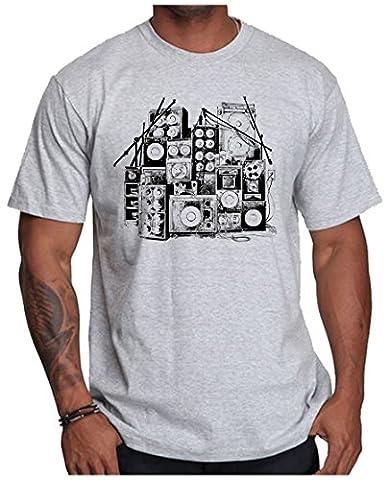 OM3 - MUSIC BOX - T-Shirt DJ BOOM Rockabilly Rap Hip Hop House Rock PUNK INDIE RnB, L, Grau Meliert