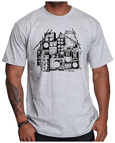 OM3 - MUSIC BOX - T-Shirt DJ BOOM Rockabilly Rap Hip Hop House Rock PUNK INDIE RnB, 3XL, Grau Meliert (Punk-band-retro-rock-shirt)