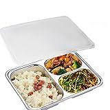 AIYoo Bento Lunch Box 304 Edelstahl Frischhaltedose 3 Fach Bento Boxen Für Studenten Erwachsene Kinder Picknick Restaurant Container Tray, Geteilte Platte, Geteilt Lebensmittel Serviertablett mit Deckel (Neue 3 Fächer)