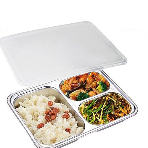 AIYoo Bento Lunch Box 304 Edelstahl Frischhaltedose 3 Fach Bento Boxen Für Studenten Erwachsene Kinder Picknick Restaurant Container Tray,Geteilte Platte,Geteilt Lebensmittel Serviertablett mit Deckel - Edelstahl-lebensmittel-fach