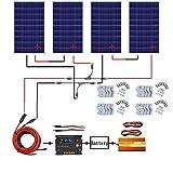 ECO-WORTHY Kit panneau solaire 480W hors grille: inverseur sinusoïdal pur 1500W 220V + 4 panneaux solaires polycristallins PCS 120W + contrôleur de chargeur de batterie 20A pour bateau récréatif...