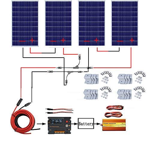 ECO-WORTHY 480W Off Grid Solarmodul Kit: 1500W 220V reiner Sinus Wechselrichter + 4 PCS 120W polykristalliner Solarpanel + 20A Batterieladegerät Controller für Home Boot RV