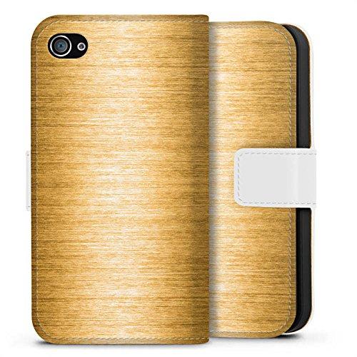 Apple iPhone X Silikon Hülle Case Schutzhülle Metall Look Gold Metal Sideflip Tasche weiß