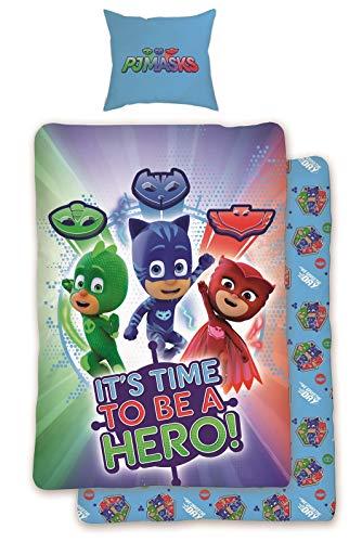 Geprüft Schlafanzug (SkyBrands PJ Masks Pyjamahelden Wende Bettwäsche Set 135x200cm 80x80cm 100% Baumwolle Catboy Eulette Gecko Hero)