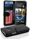Cadorabo - Book Style Hülle für HTC ONE M7 (1. Generation) - Case Cover Schutzhülle Etui mit 3 Kartenfächern in OXID-SCHWARZ
