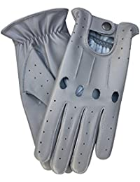 Prime de qualité supérieure Vache en cuir nappa Conduite Moto robe fashion 507Paire de gants gris clair