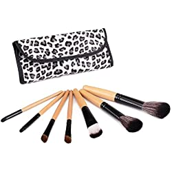 Glow 7 PCs sistema de cepillo del maquillaje profesional (mango de madera con estampado de leopardo)