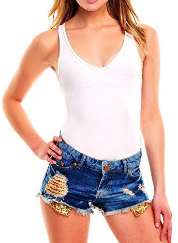 Tazzio Shorts Damen High Waist Destroyed Look Pailletten Jeans Hotpants TZ-801 Blau Blau