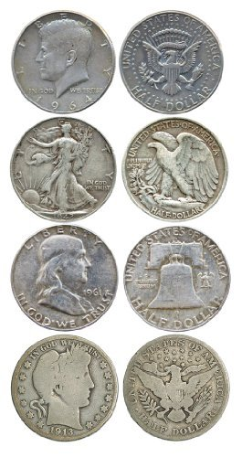 Type Set - Four 90% Silver Halves - Walking Liberty Barber JFK Franklin - Silver Half Starter Collection by Great American Coin