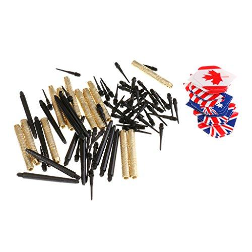 Gazechimp Dartpfeile [14g], 12 Stück Darts Pfeile Set für Elektronische Dartscheibe mit Kunststoff Dart spitzen, Kupfer Dart Fässer, 4 Arten Dart Flights und 48 Ersatz Dart Tips